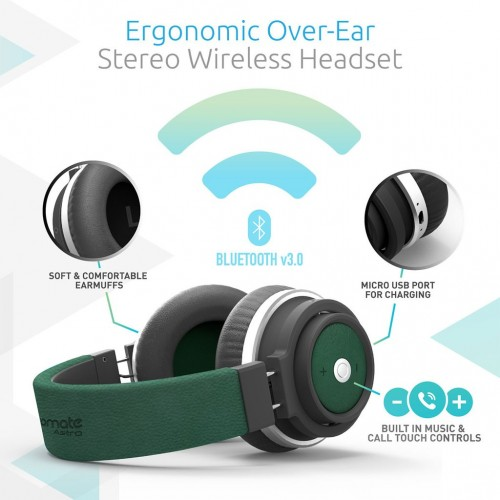 Фото Bluetooth наушники Promate - Astro Ergonomic Over-Ear Stereo Wireless Headset Зеленый на itsell.ua