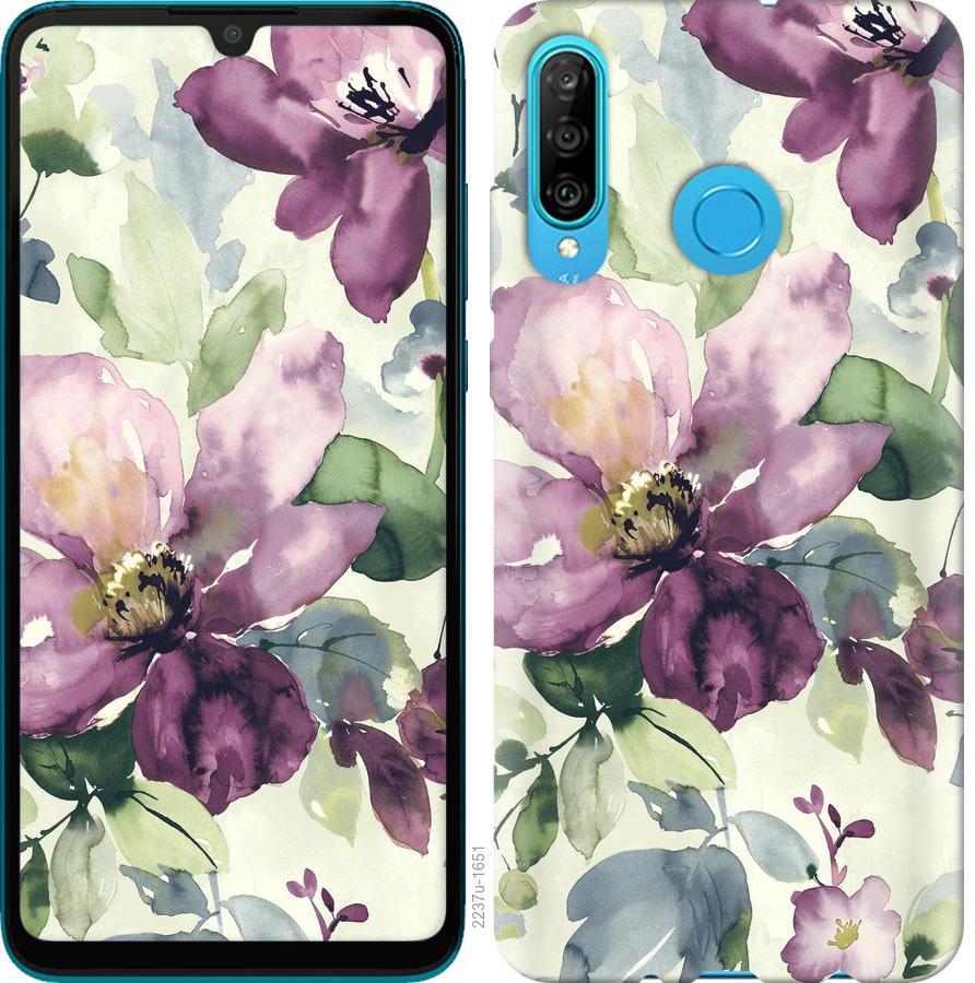 Чехол на Huawei Honor 20 Lite Цветы акварелью