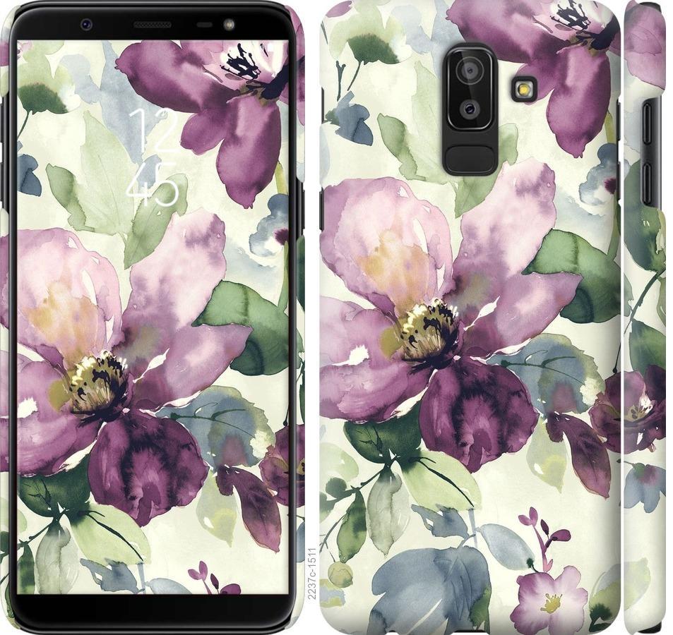 Чехол на Samsung Galaxy J8 2018 Цветы акварелью