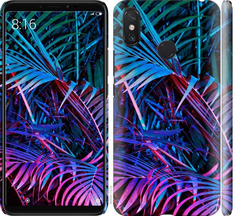 Чехол на Xiaomi Mi Max 3 Папоротник под ультрафиолетом