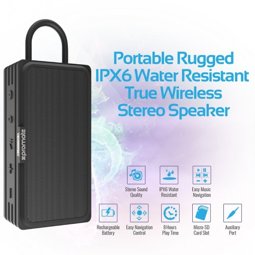 Фото Bluetooth колонка Promate - Rustic-3 Portable Rugged IPX6 Water Resistant True Wireless Stereo Speaker (1 цвет) в магазине itsell.ua