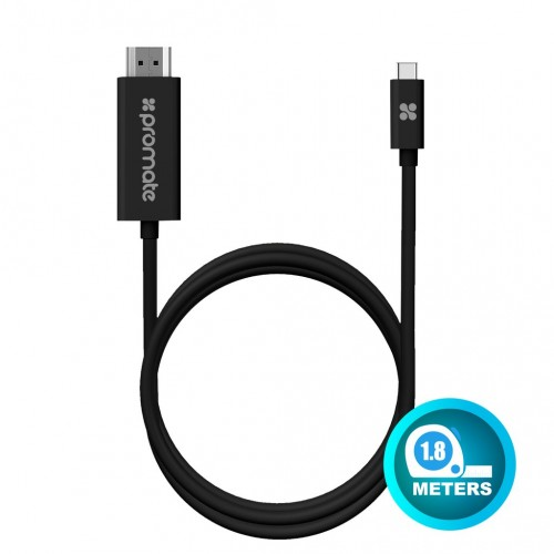 Фото Кабель Promate - uniLink-H1 USB 3.1 Type-C to HDMI Audio Video Cable with 4K x 2K Resolution Support Черный на itsell.ua