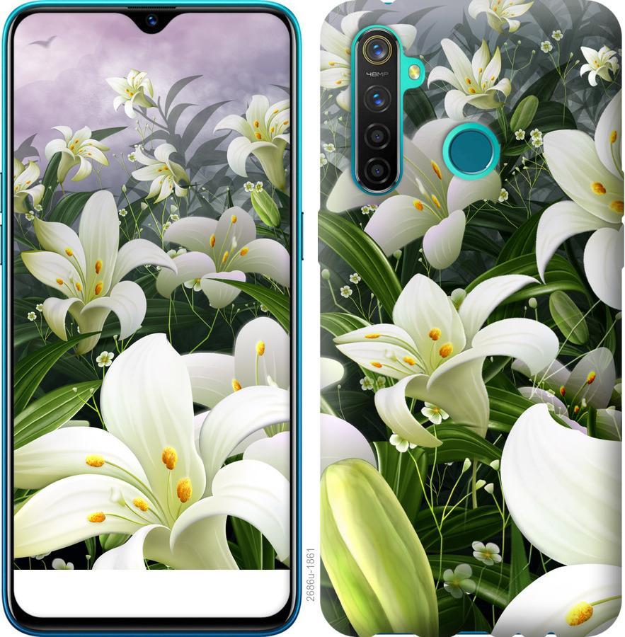 Чехол на Realme 5 Pro Белые лилии