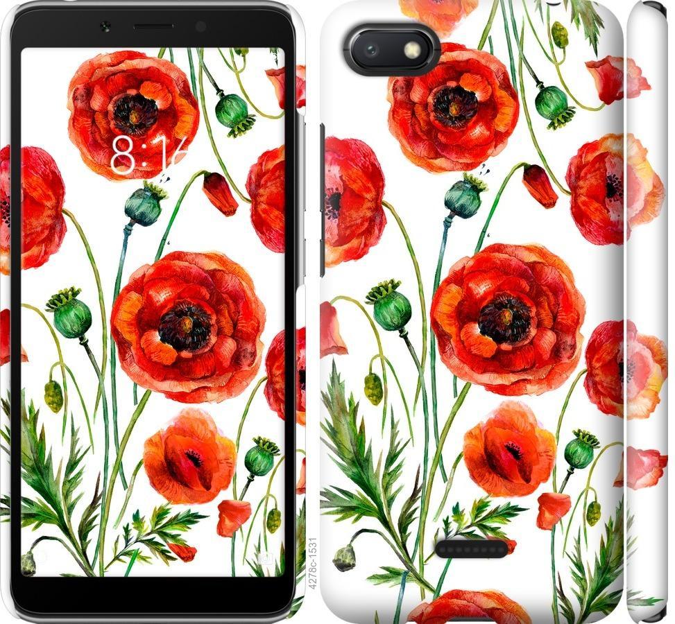 Чехол на Xiaomi Redmi 6A Нарисованные маки