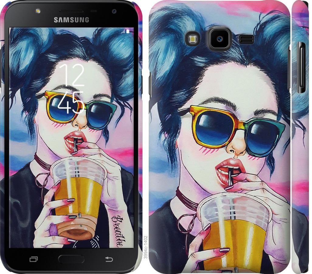 Чехол на Samsung Galaxy J7 Neo J701F Арт-девушка в очках