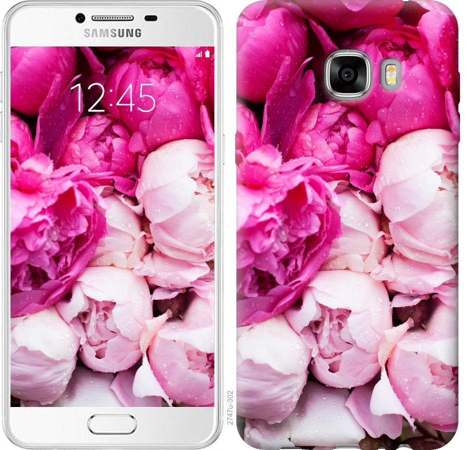 Чехол на Samsung Galaxy C7 C7000 Розовые пионы