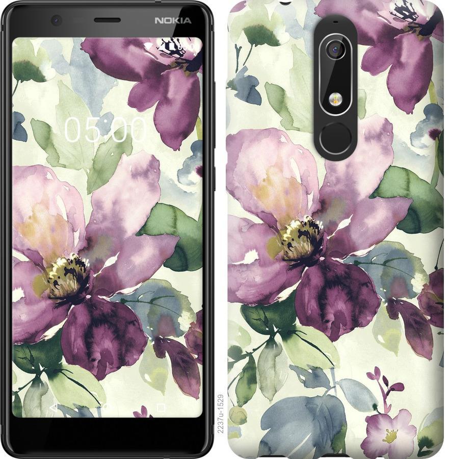 Чехол на Nokia 5.1 Цветы акварелью
