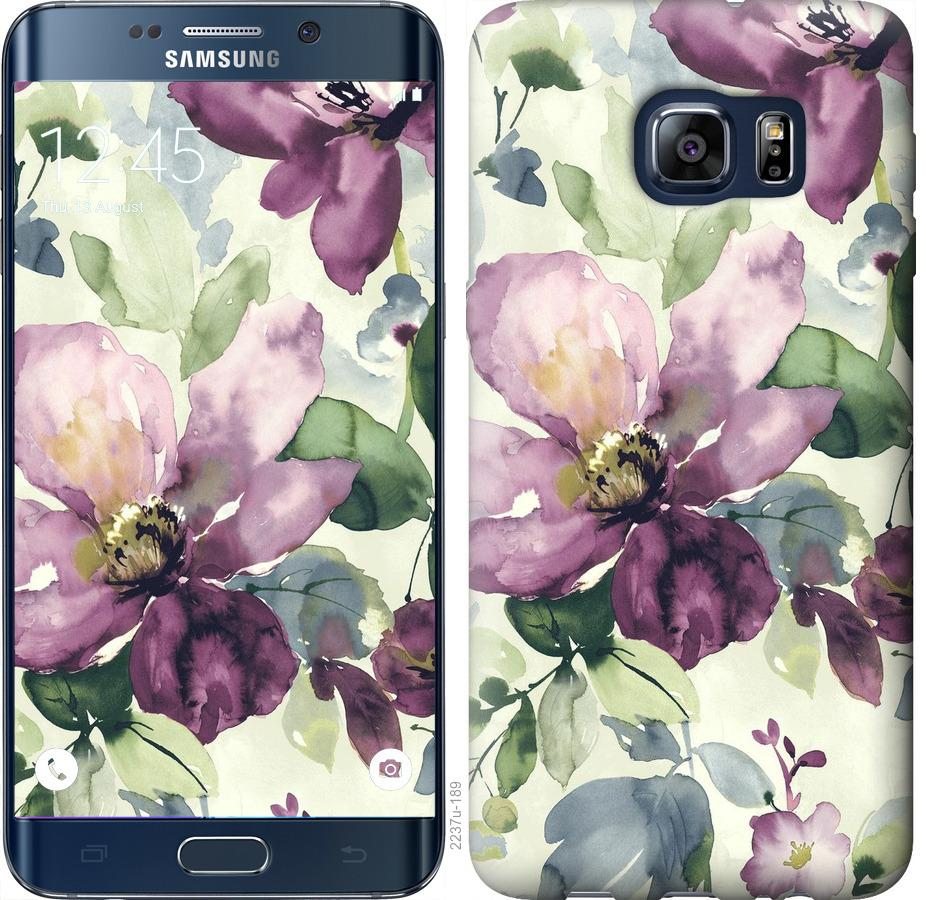Чехол на Samsung Galaxy S6 Edge Plus G928 Цветы акварелью