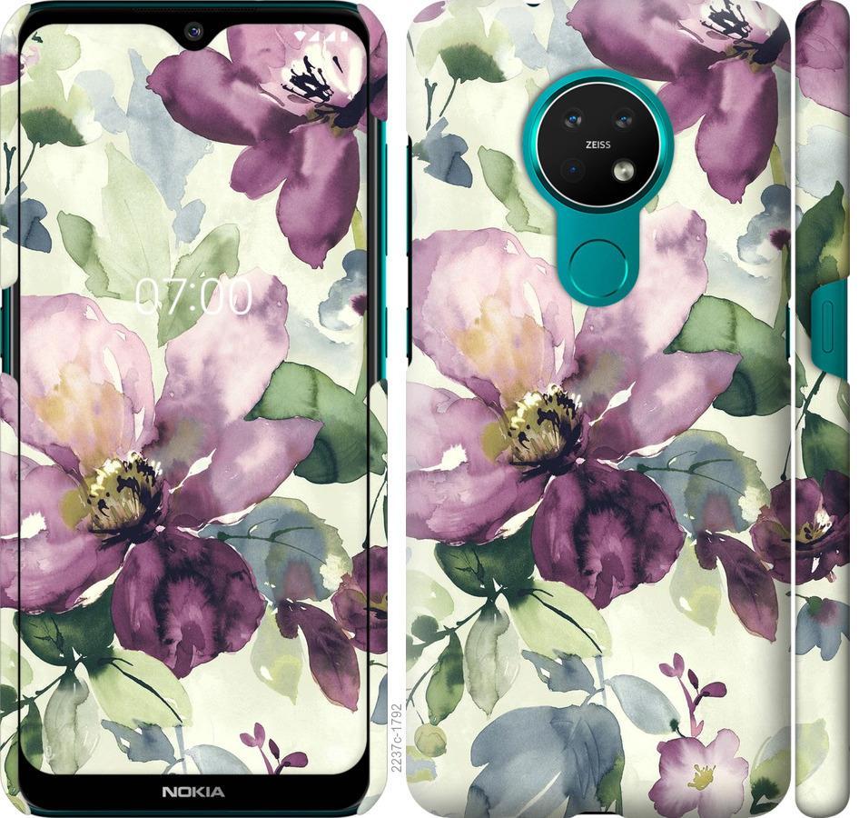 Чехол на Nokia 7.2 Цветы акварелью