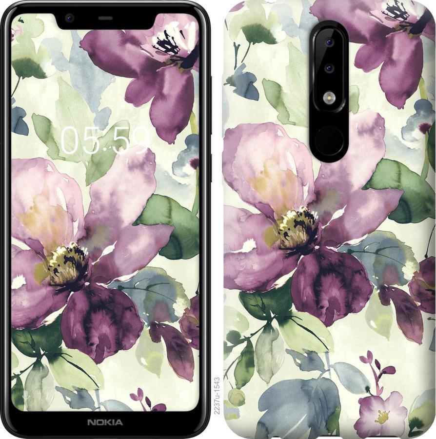 Чехол на Nokia 5.1 Plus Цветы акварелью