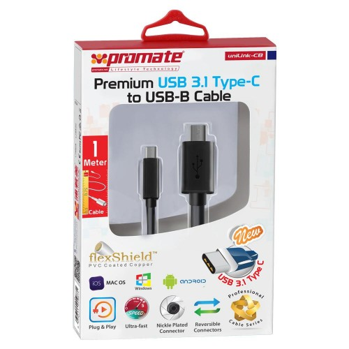 Фото Кабель Promate - uniLink-CB Premium New USB 3.1 Type-C to USB-B Printer Cable Черный на itsell.ua
