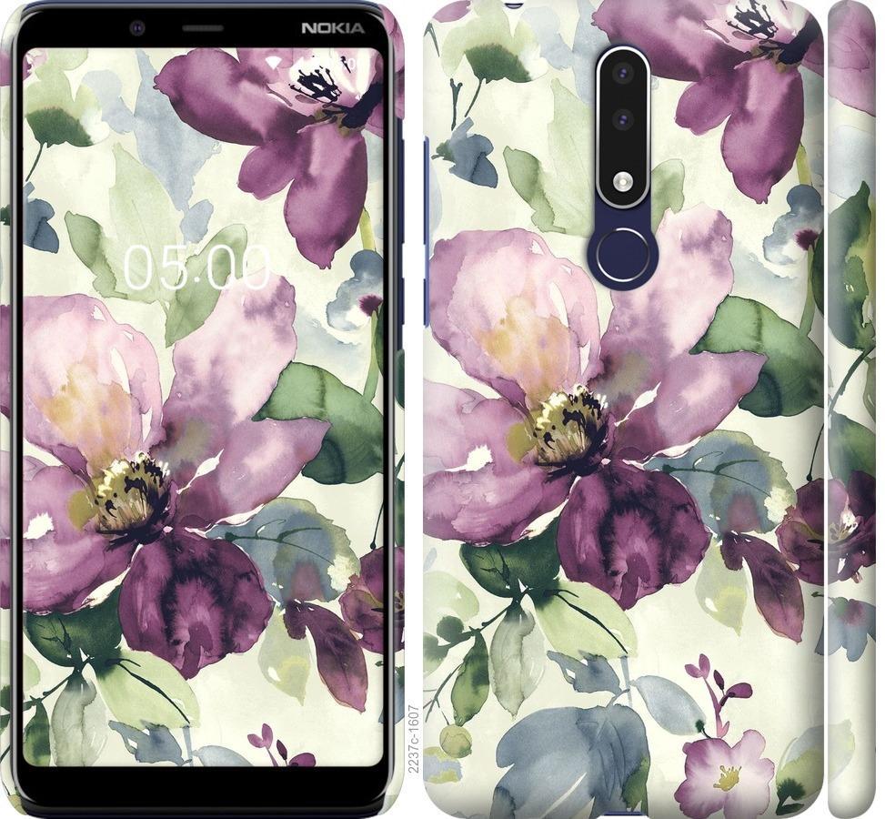 Чехол на Nokia 3.1 Plus Цветы акварелью