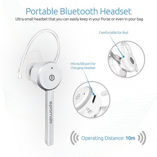 Фото Bluetooth гарнитура Promate - Ace Ultra-Slim Professional Wireless Mono Headset Белый на itsell.ua