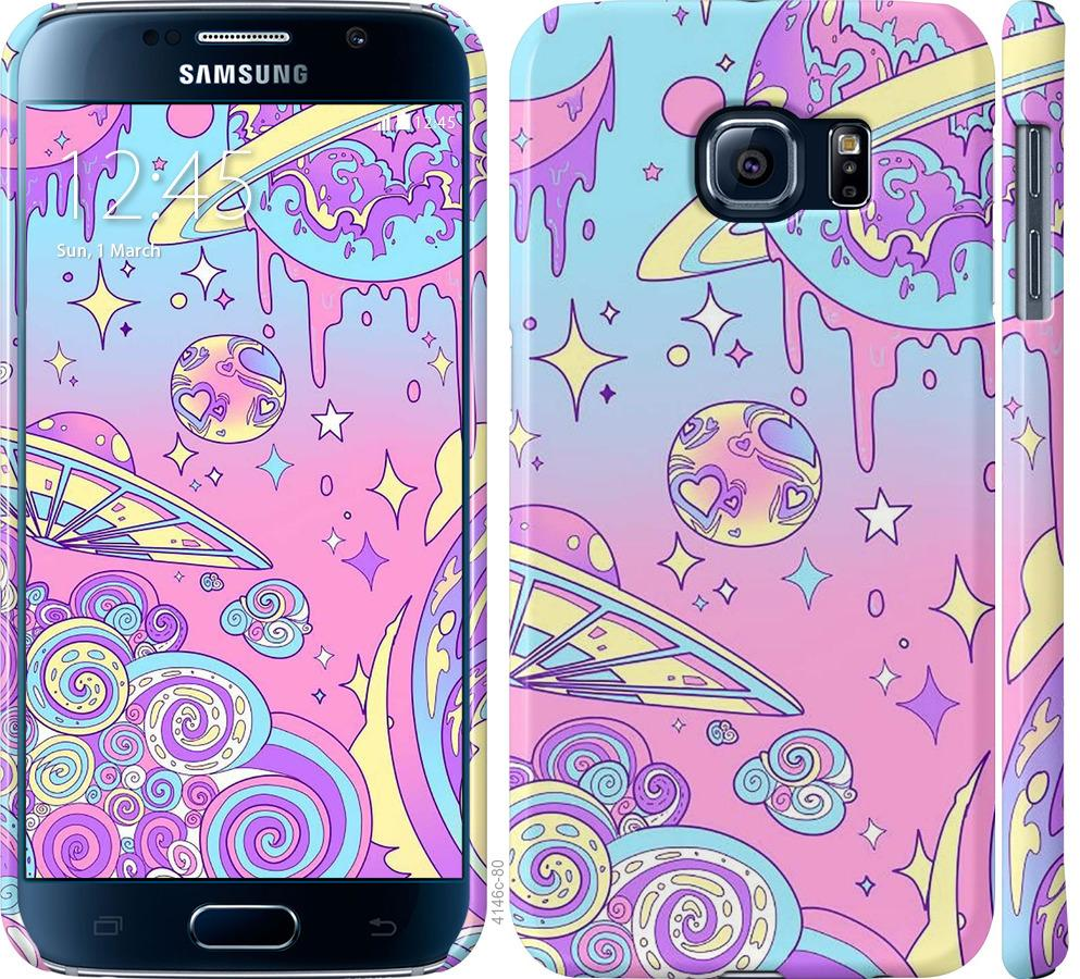 Чехол на Samsung Galaxy S6 G920 Розовая галактика