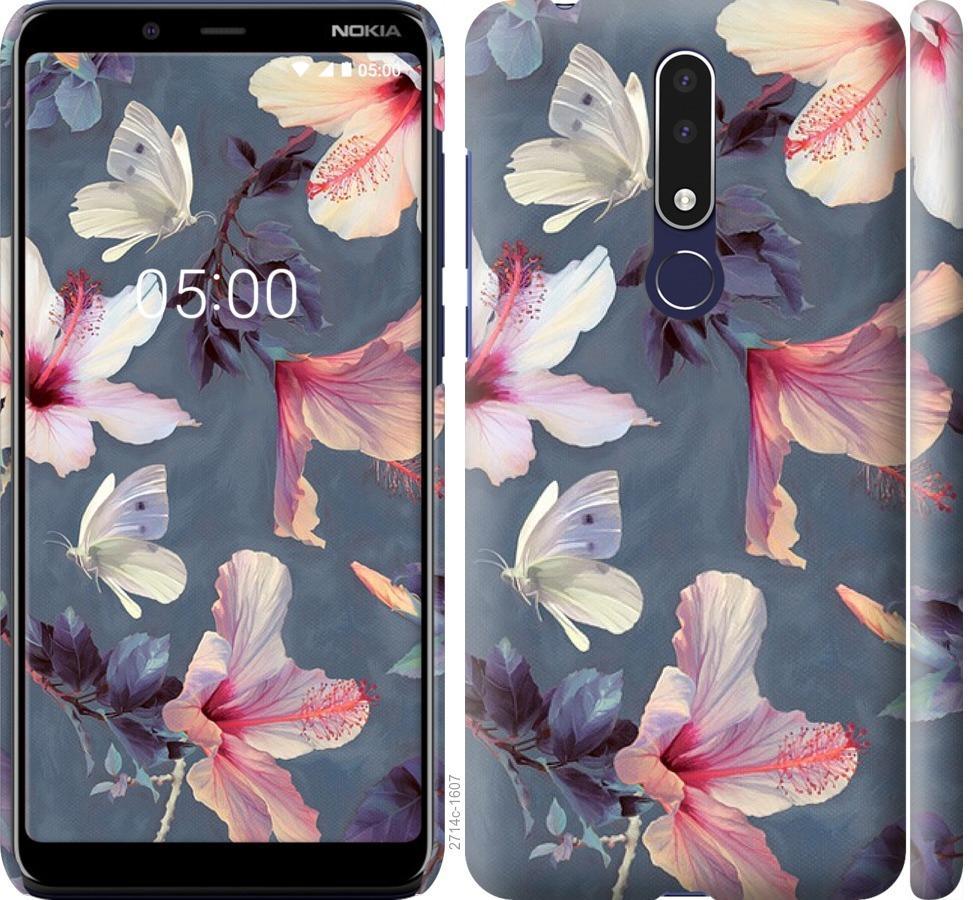 Чехол на Nokia 3.1 Plus Нарисованные цветы