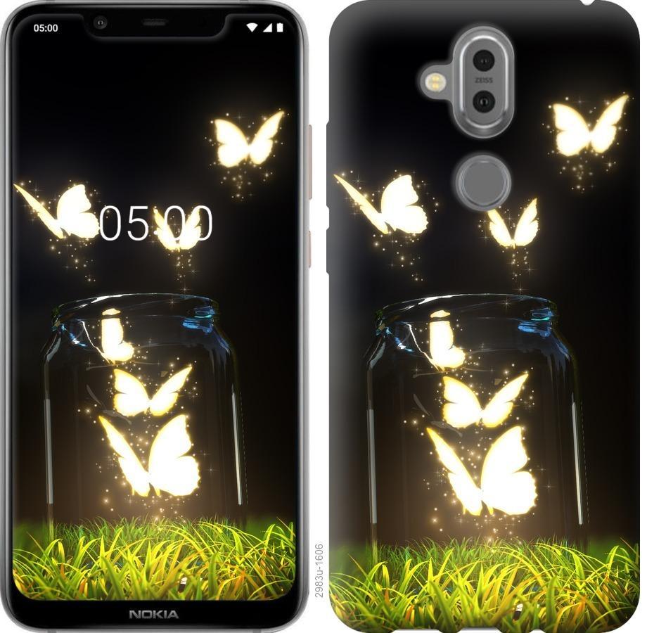 Чехол на Nokia 8.1 Светящиеся бабочки