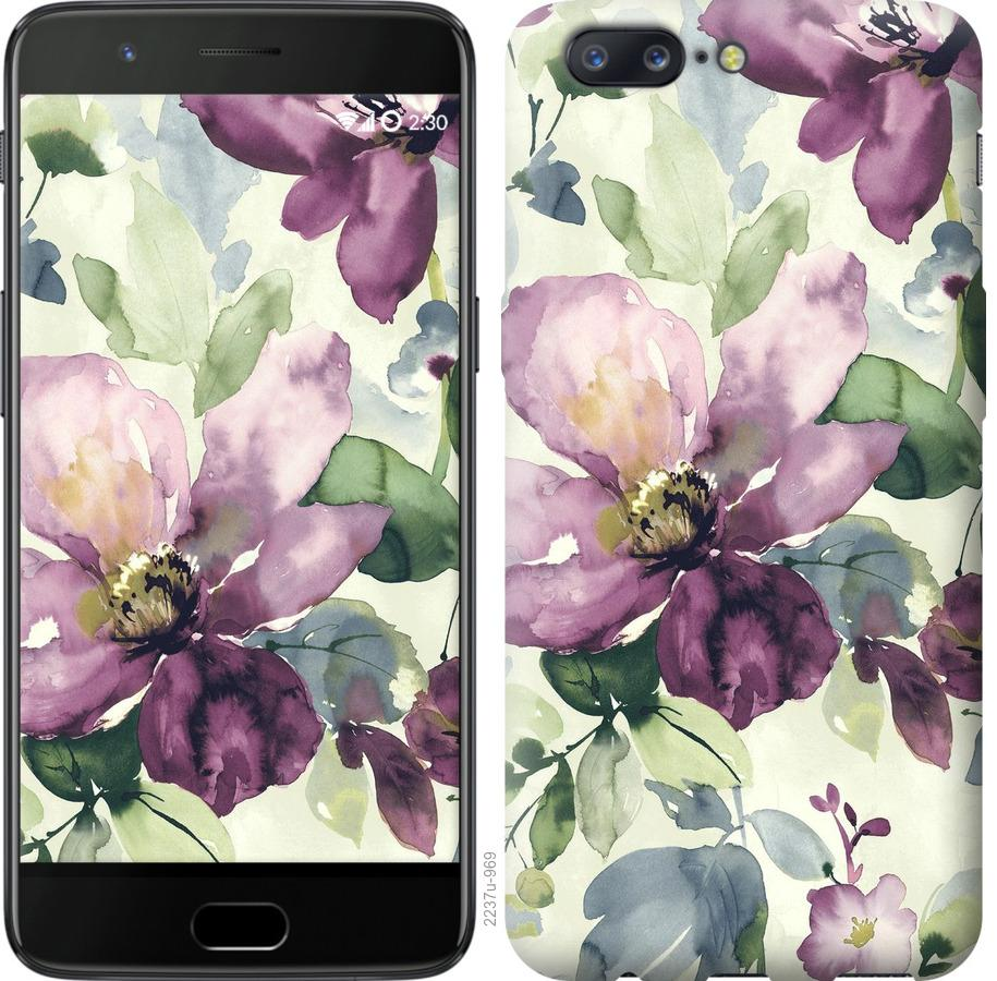 Чехол на OnePlus 5 Цветы акварелью