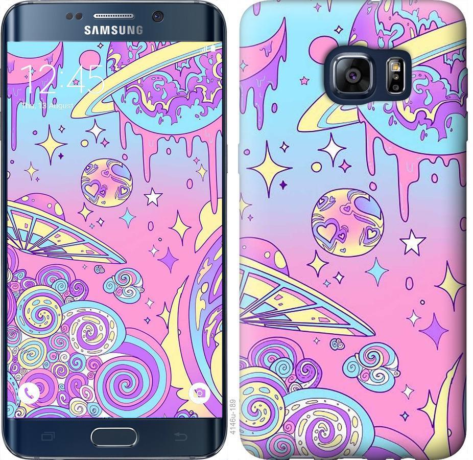 Чехол на Samsung Galaxy S6 Edge Plus G928 Розовая галактика