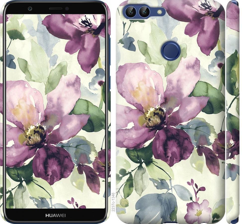 Чехол на Huawei P Smart Цветы акварелью