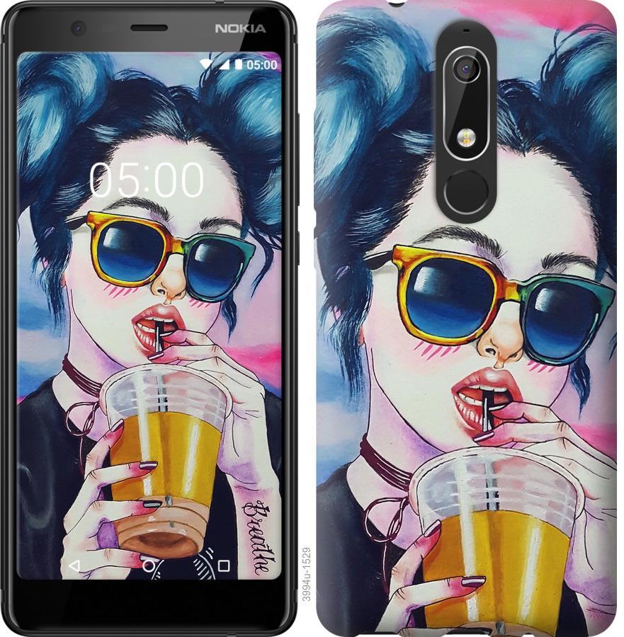 Чехол на Nokia 5.1 Арт-девушка в очках