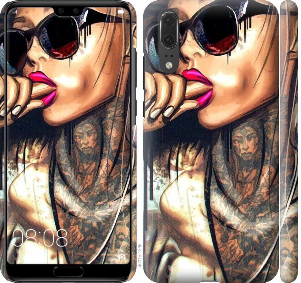 Чехол на Huawei P20 Девушка в тату