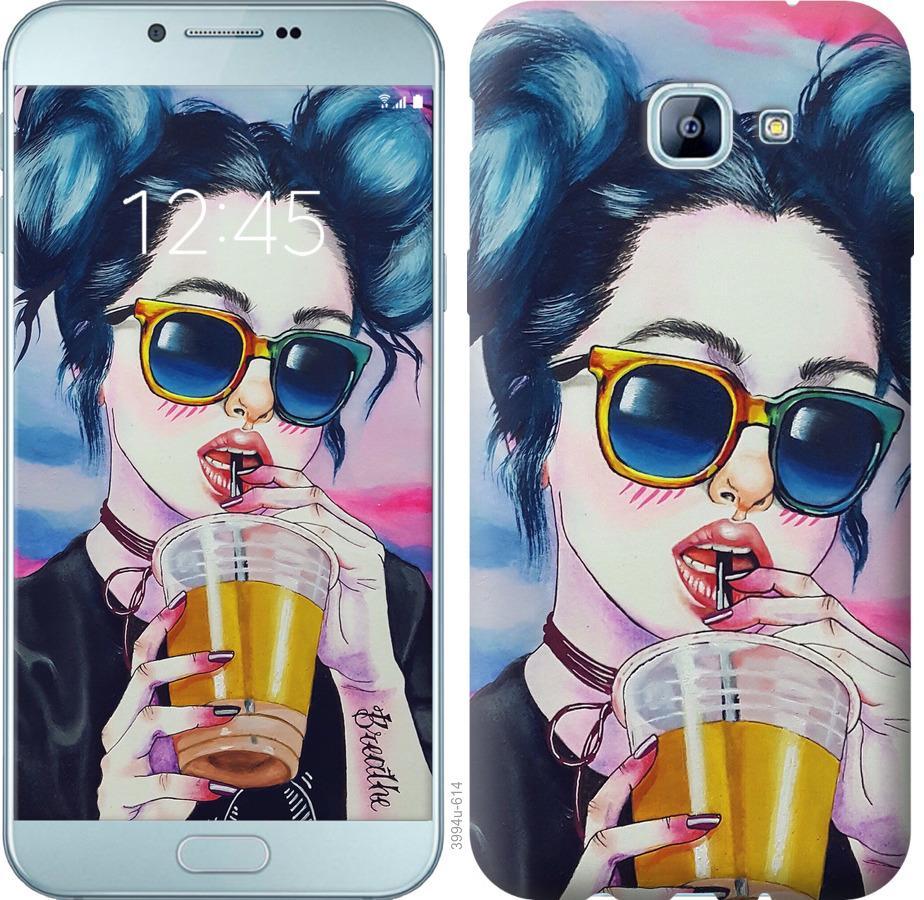 Чехол на Samsung Galaxy A8 (2016) A810 Арт-девушка в очках