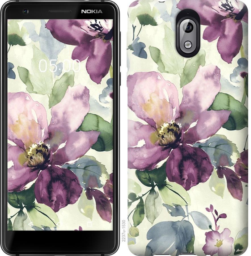 Чехол на Nokia 3.1 Цветы акварелью