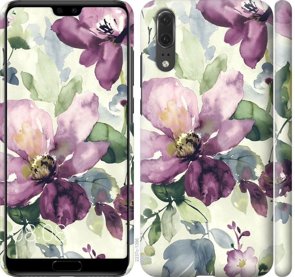 Чехол на Huawei P20 Цветы акварелью