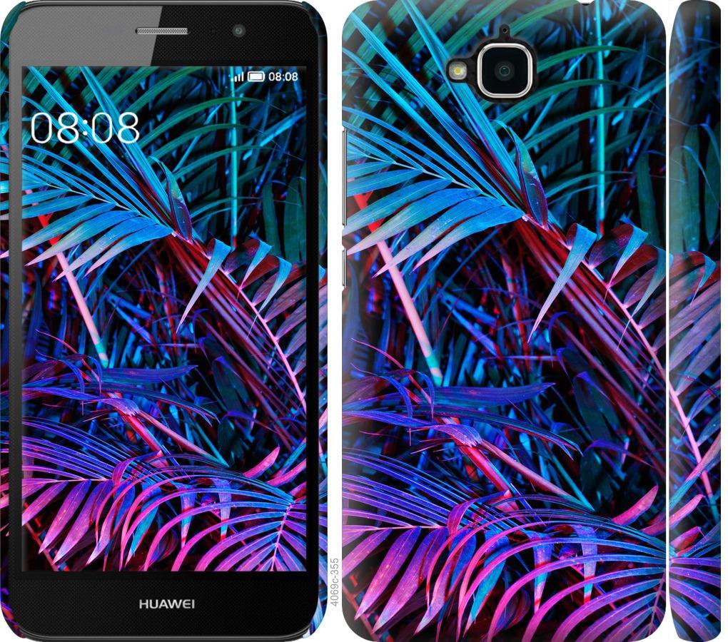 Чехол на Huawei Y6 Pro Папоротник под ультрафиолетом
