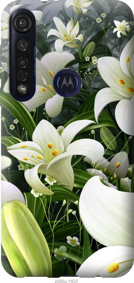 Чехол на Motorola G8 Plus Белые лилии