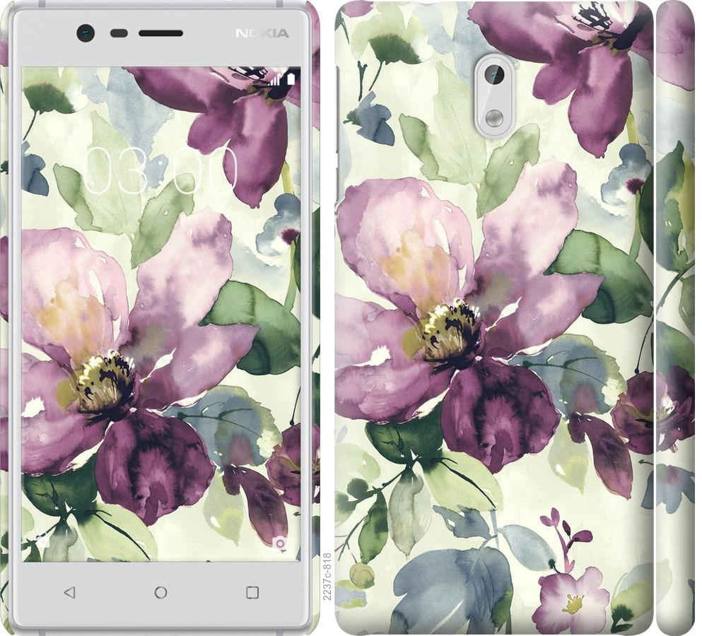Чехол на Nokia 3 Цветы акварелью