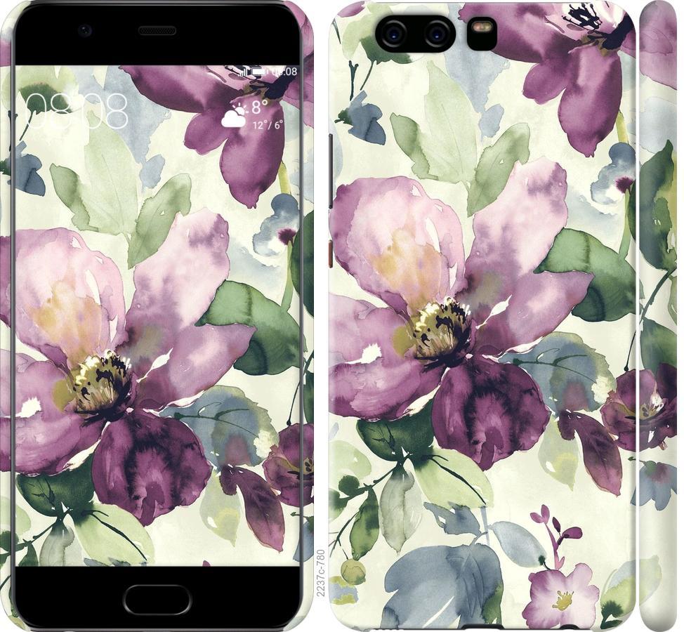 Чехол на Huawei P10 Цветы акварелью