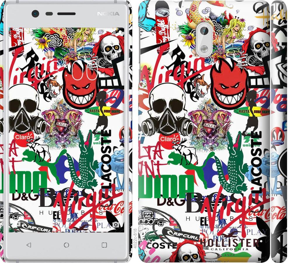 Чехол на Nokia 3 Many different logos