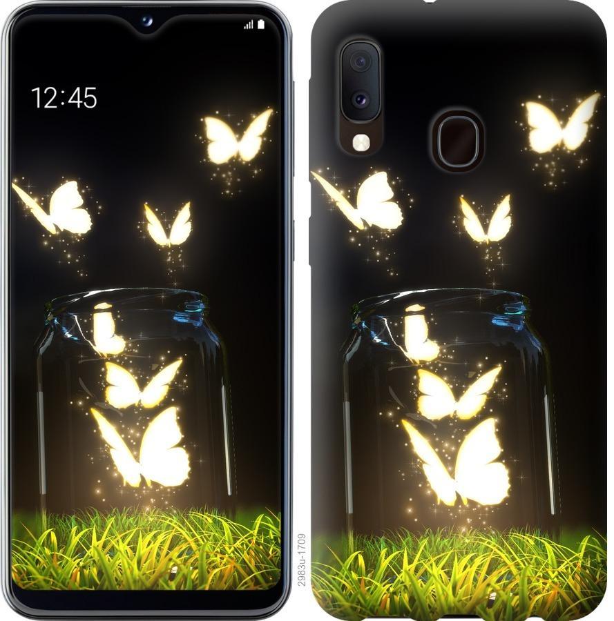 Чохол на Samsung Galaxy A20e A202F  Сяючі метелики