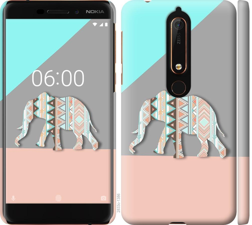 Чехол на Nokia 6.1 Узорчатый слон