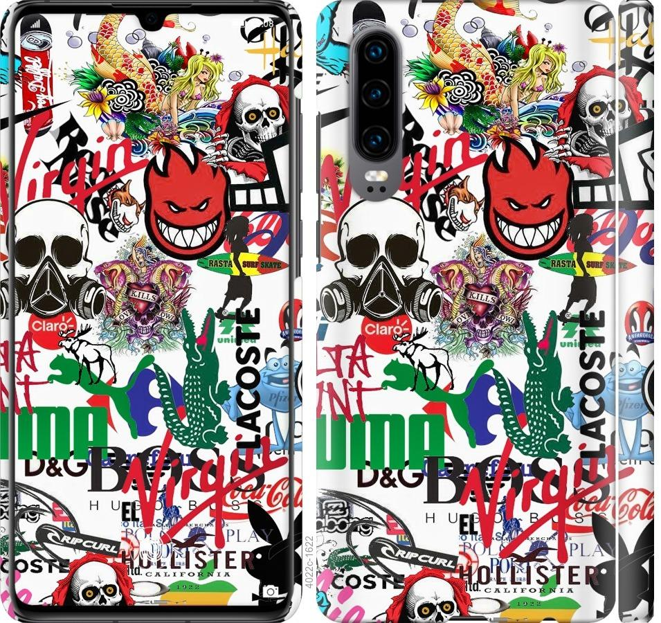 Чехол на Huawei P30 Many different logos