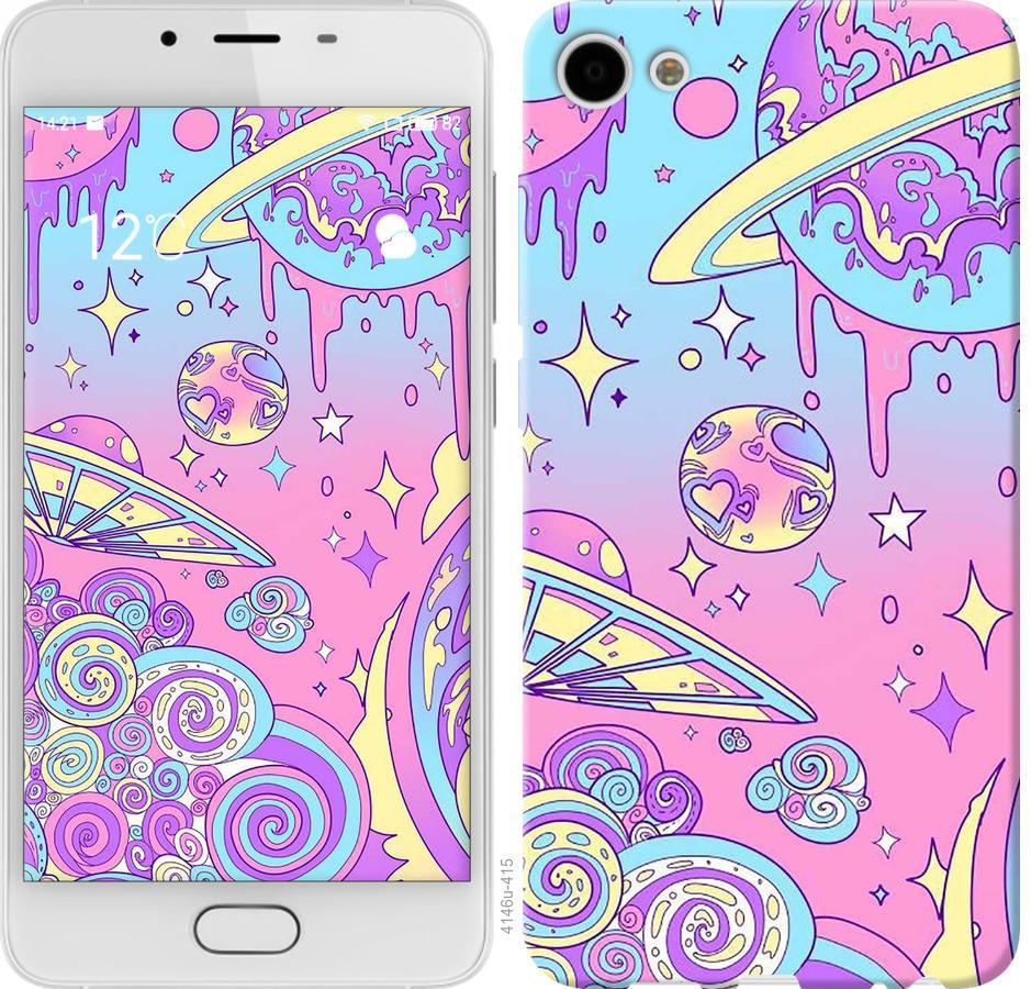 Чехол на Meizu U10 Розовая галактика
