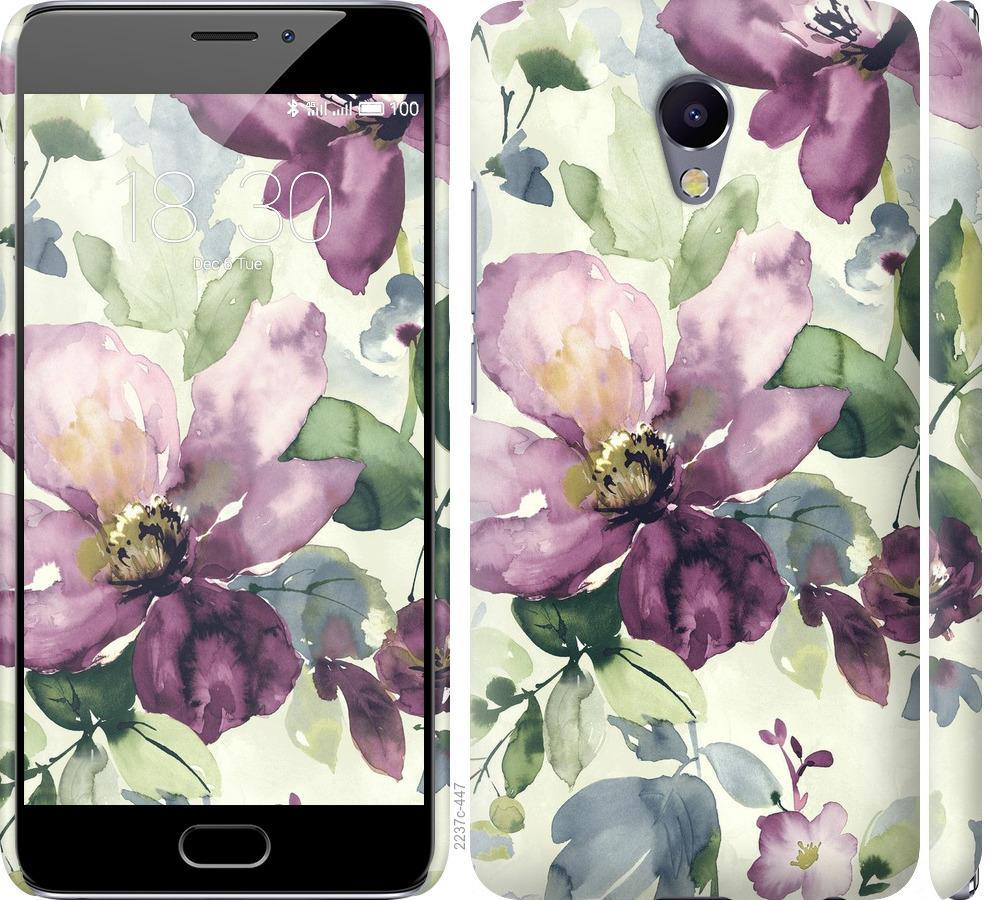 Чехол на Meizu M5 Note Цветы акварелью