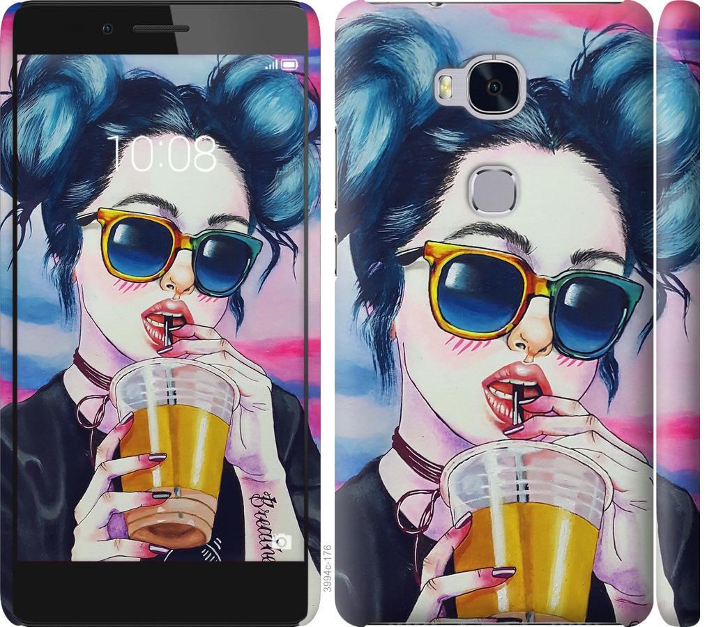 Чехол на Huawei Honor 5X Арт-девушка в очках