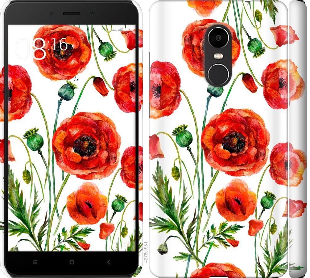 Чехол на Xiaomi Redmi Note 4X Нарисованные маки