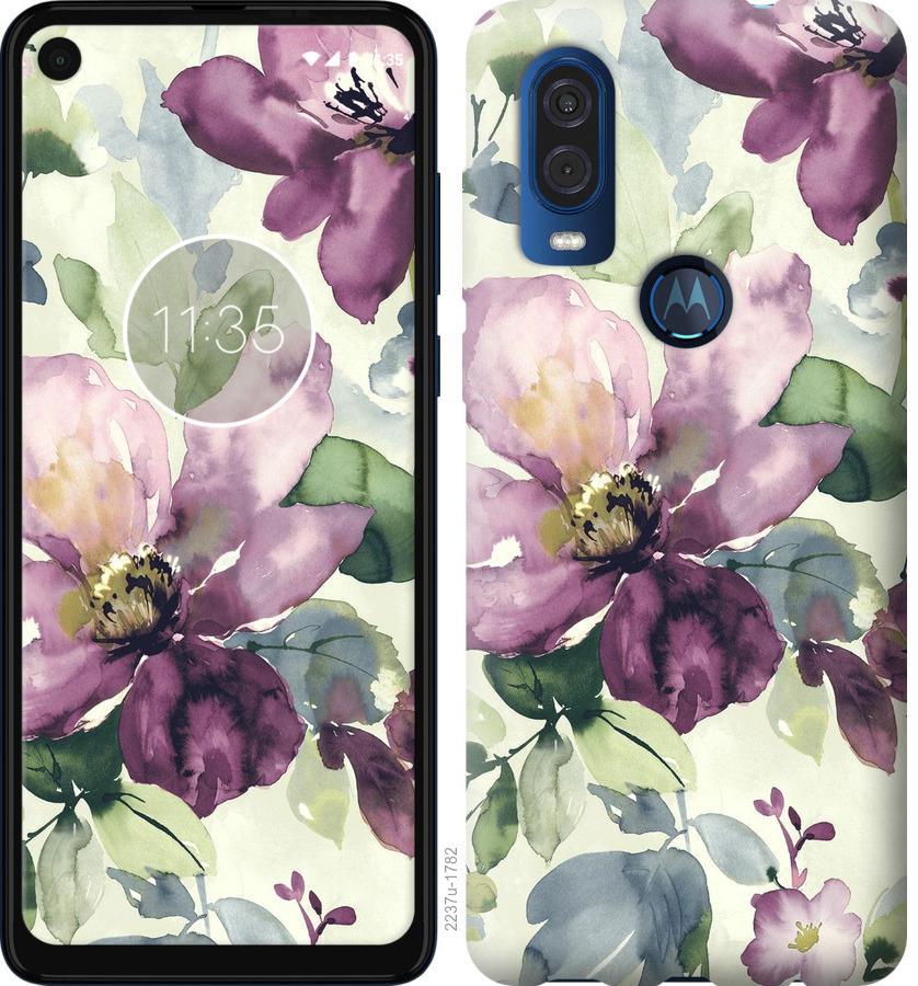 Чехол на Motorola One Vision Цветы акварелью