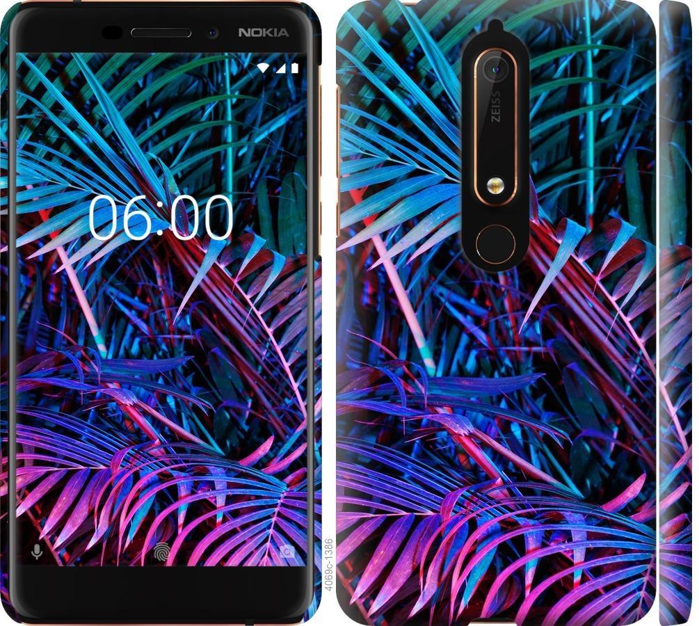 Чехол на Nokia 6.1 Папоротник под ультрафиолетом