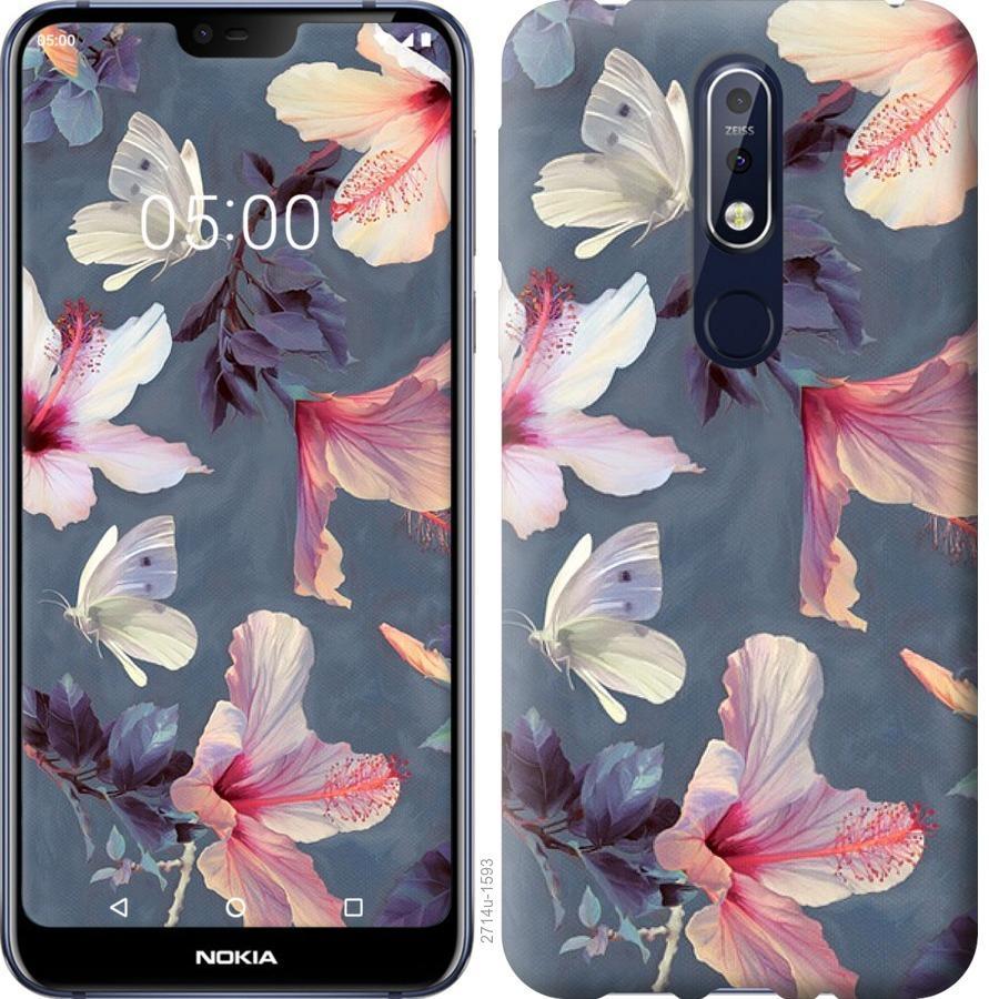 Чехол на Nokia 7.1 Нарисованные цветы