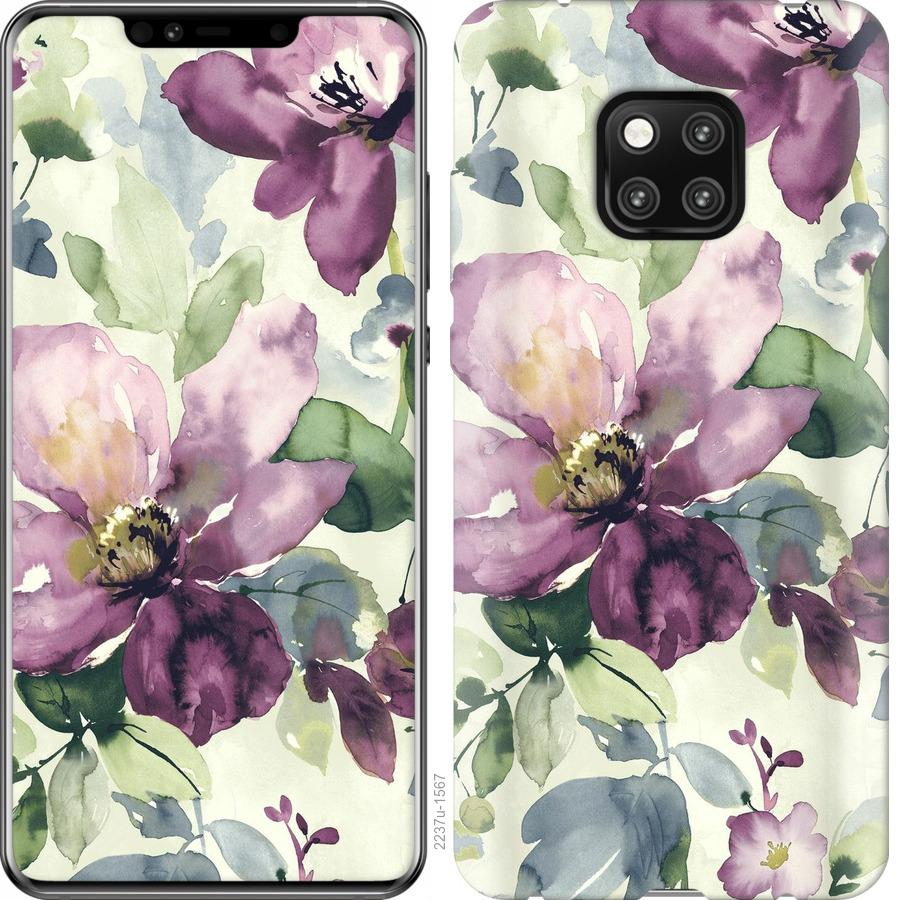 Чехол на Huawei Mate 20 Pro Цветы акварелью