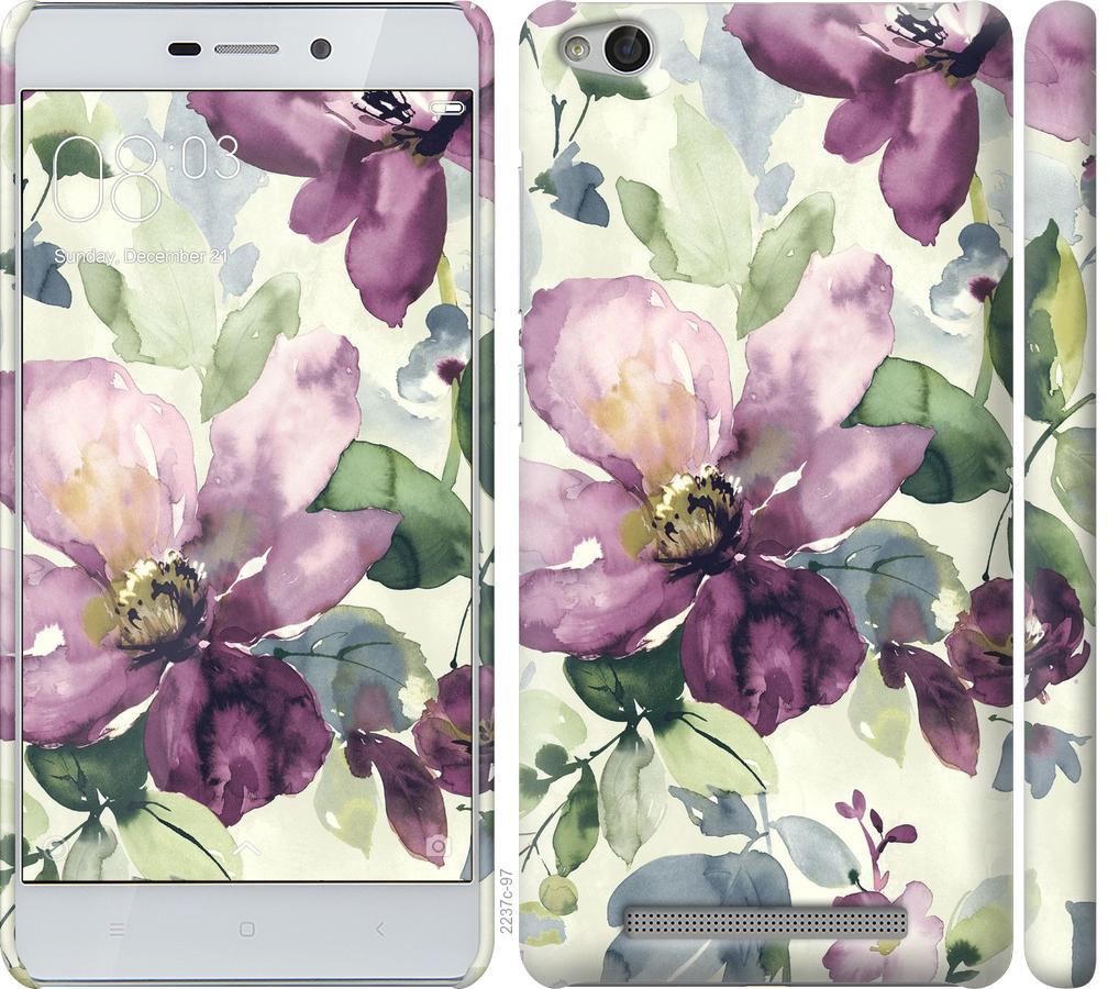 Чехол на Xiaomi Redmi 3 Цветы акварелью