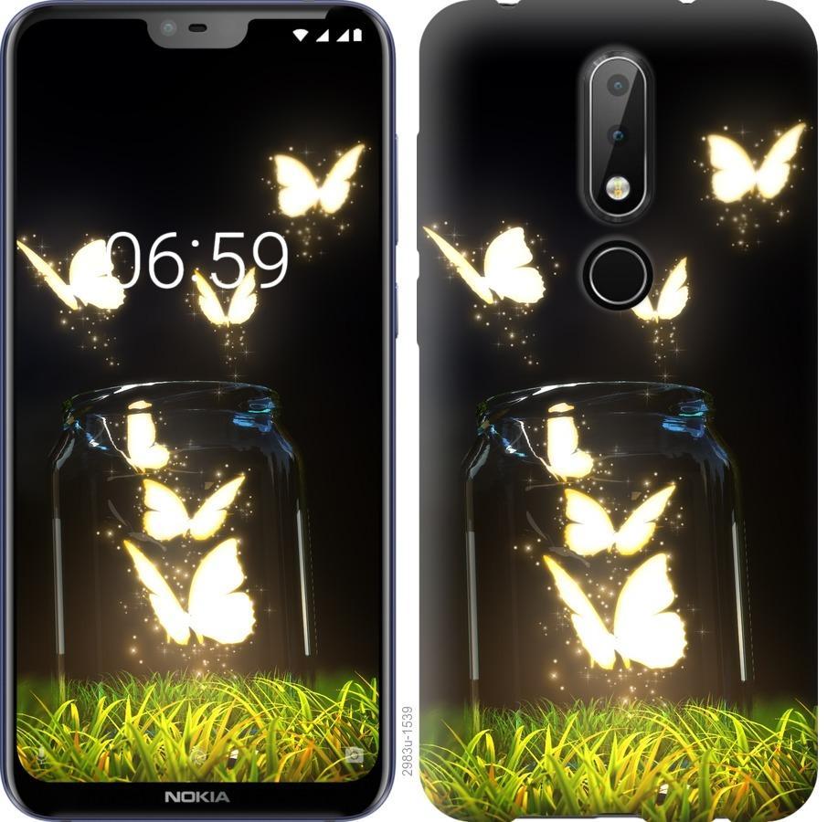Чехол на Nokia 6.1 Plus Светящиеся бабочки