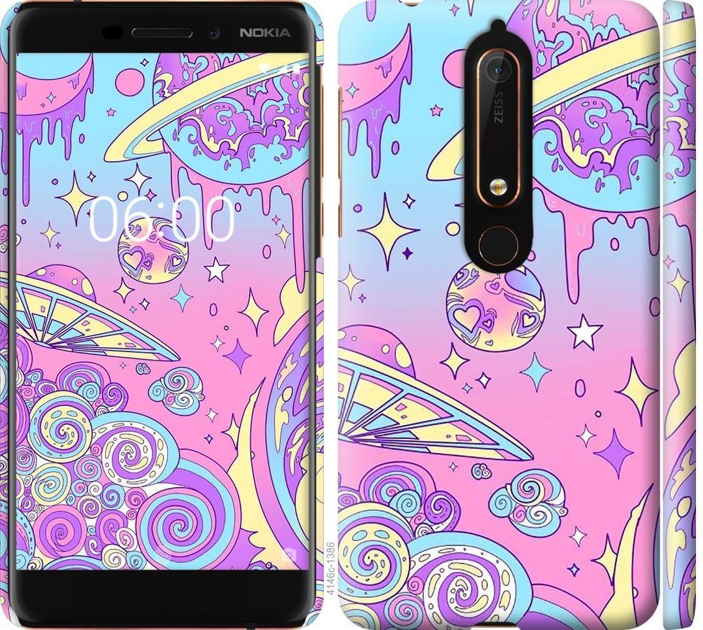 Чехол на Nokia 6.1 Розовая галактика