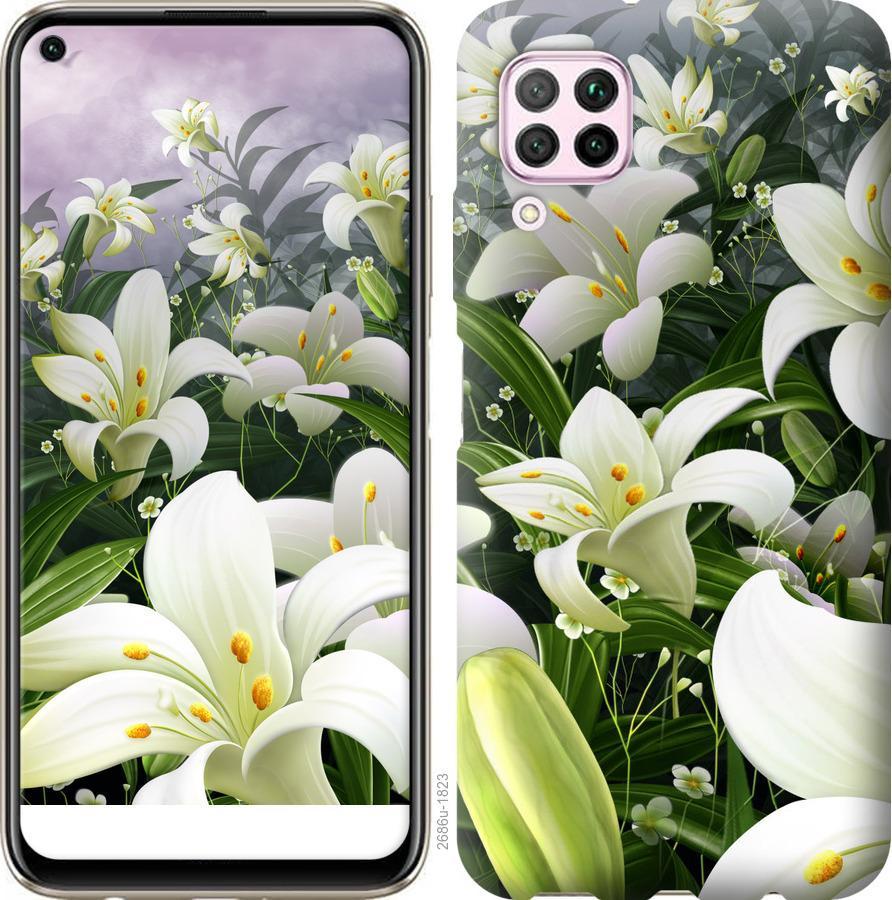 Чехол на Huawei P40 Lite Белые лилии
