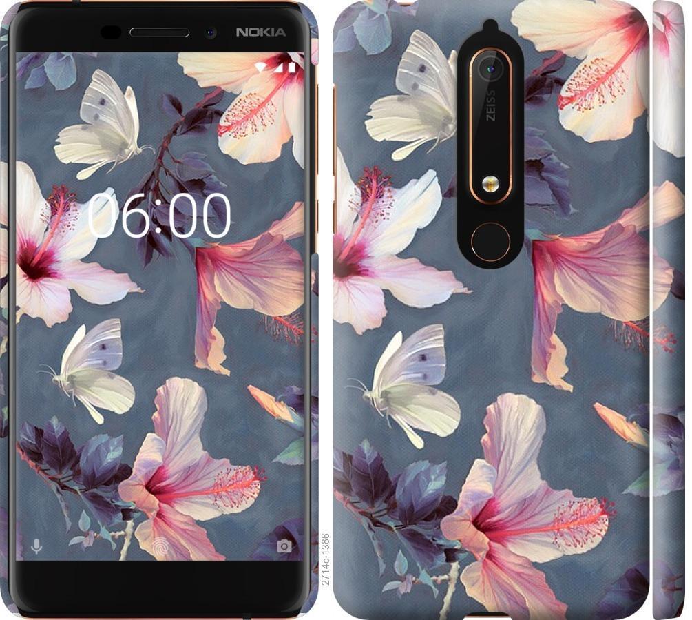 Чехол на Nokia 6.1 Нарисованные цветы