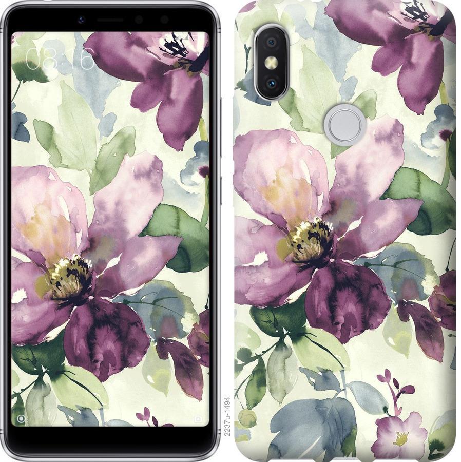 Чехол на Xiaomi Mi Mix 2s Цветы акварелью